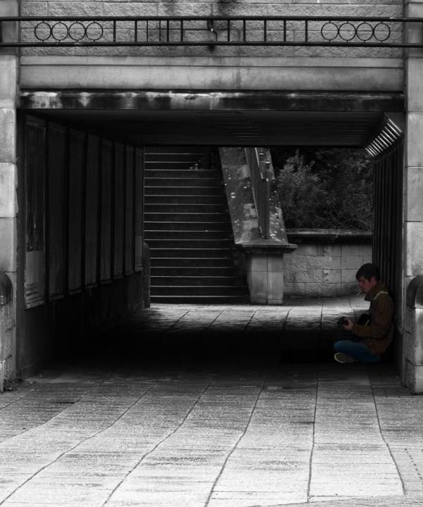 Busker In The Underpass